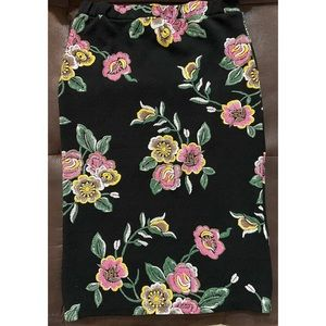 Black with Multi Colored Floral Pencil Skirt